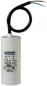 Motorkondensator 12,5 uF mit Kabel und Bolzen 8mm