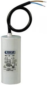 Motorkondensator 10 uF mit Kabel und Bolzen 8mm